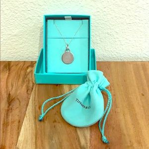"""Tiffany round tag charm and 18"""" chain"""